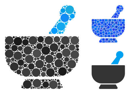 Mortar composition for mortar icon of small circles in variable sizes and color hues. Vector small circles are united into blue composition. Dotted mortar icon in usual and blue versions.