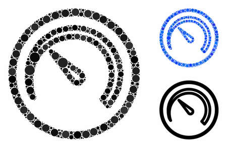 Speedometer mosaic for speedometer icon of small circles in variable sizes and shades. Vector small circles are united into blue mosaic. Dotted speedometer icon in usual and blue versions.