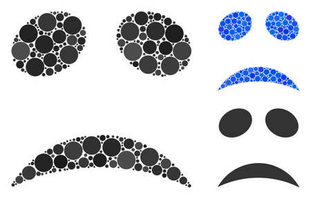 Sad emote smiley composition for sad emote smiley icon of small circles in various sizes and color hues. Vector small circles are united into blue composition.
