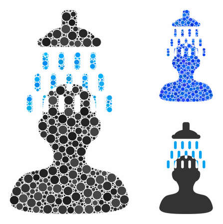 Man under shower composition for man under shower icon of small circles in different sizes and color tints. Vector small circles are composed into blue composition. Ilustracja