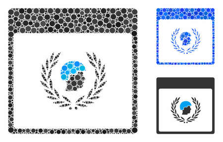 Soldier laurel wreath calendar page mosaic for soldier laurel wreath calendar page icon of spheric dots in different sizes and color tinges. Vector round dots are organized into blue mosaic. Banque d'images - 131182085