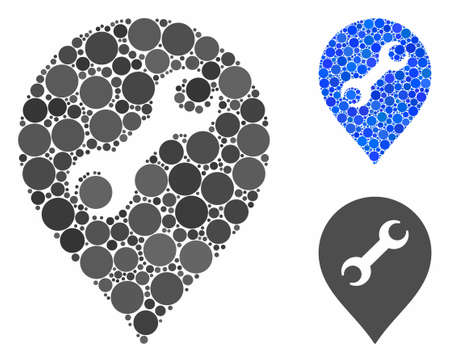 Repair service composition for repair service icon of spheric dots in various sizes and shades. Vector round dots are combined into blue composition.