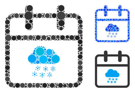 Snow day composition for snow day icon of circle elements in various sizes and color hues. Vector circle elements are combined into blue composition. Dotted snow day icon in usual and blue versions.