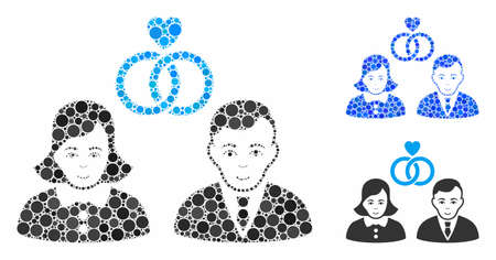 People marriage composition for people marriage icon of circle elements in different sizes and shades. Vector circle elements are united into blue mosaic.