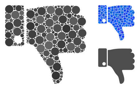 Thumb down mosaic for thumb down icon of filled circles in variable sizes and color tinges. Vector filled circles are united into blue illustration. Dotted thumb down icon in usual and blue versions.