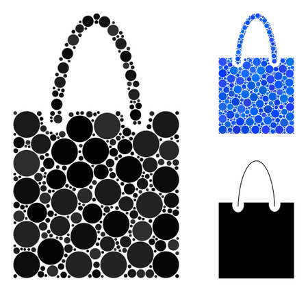 Shopping bag composition for shopping bag icon of round dots in various sizes and color hues. Vector dots are combined into blue collage. Dotted shopping bag icon in usual and blue versions.