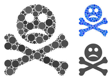 Sad death mosaic for sad death icon of round dots in different sizes and color hues. Vector dots are combined into blue illustration. Dotted sad death icon in usual and blue versions.