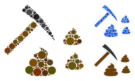 Shit mining mosaic for shit mining icon of small circles in variable sizes and color tones. Vector small circles are grouped into blue illustration. Dotted shit mining icon in usual and blue versions.
