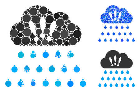 Thunderstorm rain cloud mosaic for thunderstorm rain cloud icon of round dots in variable sizes and color tones. Vector round dots are combined into blue illustration.