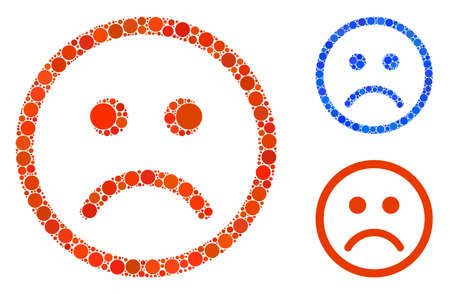 Sad smiley composition for sad smiley icon of small circles in variable sizes and shades. Vector small circles are composed into blue composition. Dotted sad smiley icon in usual and blue versions. Иллюстрация