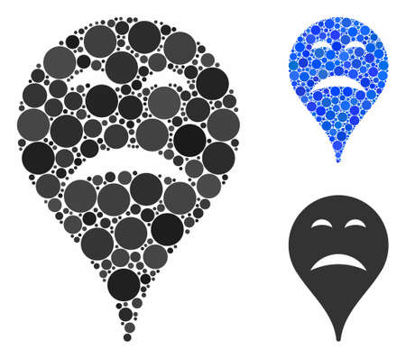 Sadness smiley map marker mosaic for sadness smiley map marker icon of small circles in various sizes and color hues. Vector random circles are grouped into blue mosaic. Фото со стока - 131182943