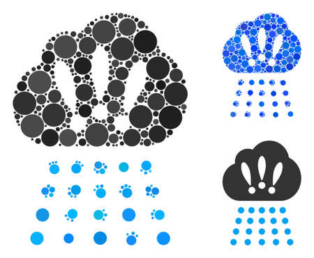 Storm cloud mosaic for storm cloud icon of filled circles in different sizes and color hues. Vector filled circles are grouped into blue mosaic. Dotted storm cloud icon in usual and blue versions.