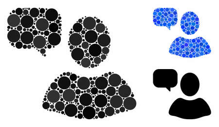 User opinion composition for user opinion icon of small circles in variable sizes and color tinges. Vector random circles are combined into blue composition. Çizim