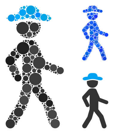 Walking gentleman mosaic for walking gentleman icon of small circles in variable sizes and color tinges. Vector small circles are composed into blue mosaic.