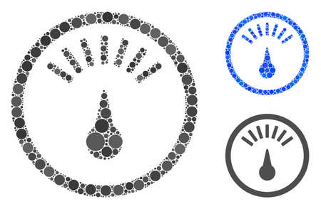 Weight gauge composition for weight gauge icon of small circles in various sizes and color tones. Vector small circles are combined into blue illustration.
