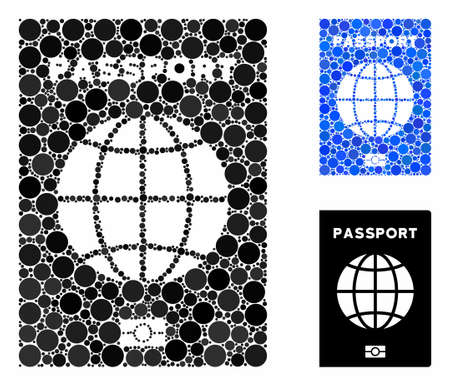 World passport mosaic for world passport icon of round dots in variable sizes and color tinges. Vector round dots are grouped into blue mosaic. Dotted world passport icon in usual and blue versions.