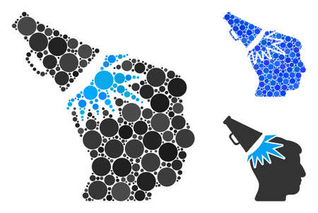 Megaphone impact head mosaic for megaphone impact head icon of filled circles in different sizes and color tones. Vector filled circles are composed into blue mosaic.