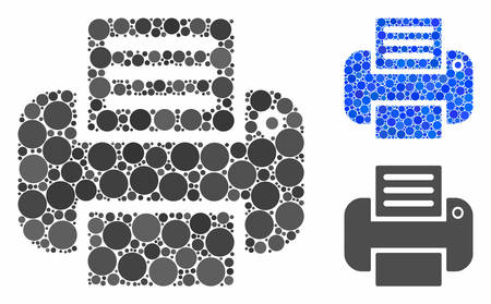 Printer mosaic for printer icon of round dots in various sizes and shades. Vector round elements are united into blue mosaic. Dotted printer icon in usual and blue versions.  イラスト・ベクター素材
