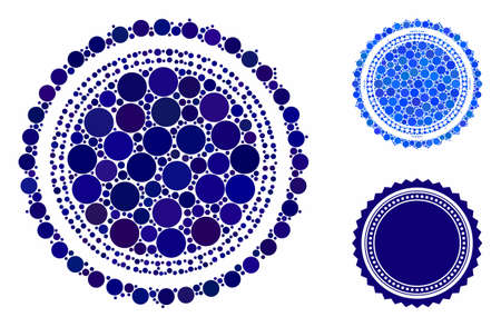 Round rosette seal mosaic for round rosette seal icon of filled circles in various sizes and color tones. Vector random circles are composed into blue mosaic. Illusztráció