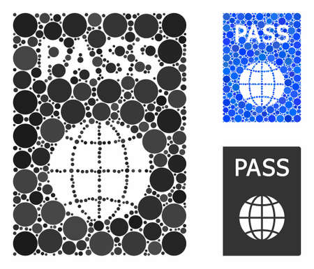 Passport mosaic for passport icon of circle elements in variable sizes and shades. Vector circle elements are composed into blue mosaic. Dotted passport icon in usual and blue versions.
