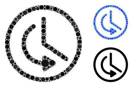 Rollback time composition for rollback time icon of circle elements in different sizes and color hues. Vector round elements are composed into blue mosaic.