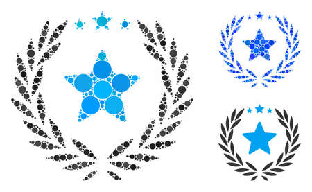 Laurel star emblem composition for laurel star emblem icon of filled circles in various sizes and color tints. Vector filled circles are grouped into blue collage.