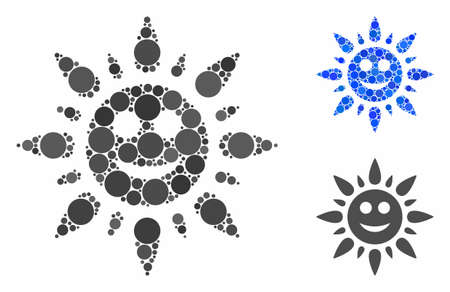 Happy sun light mosaic for happy sun light icon of round dots in different sizes and shades. Vector round dots are grouped into blue mosaic. Dotted happy sun light icon in usual and blue versions.