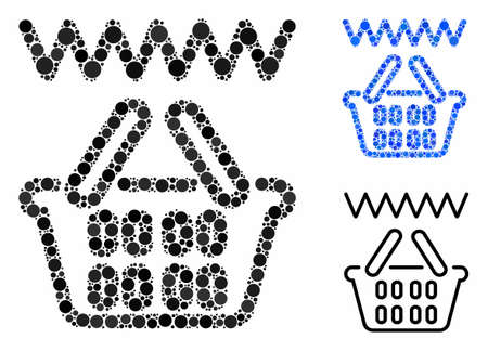Web shop basket mosaic for web shop basket icon of circle elements in different sizes and color tints. Vector circle elements are organized into blue composition.