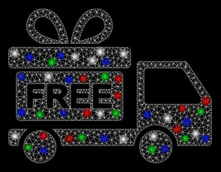 Bright mesh gift delivery car with lightspot effect. White wire carcass triangular network in vector format on a black background. Abstract 2d mesh designed with triangular lines, spheric points,