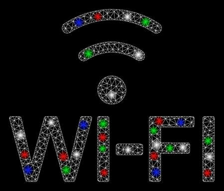 Bright mesh WiFi with glow effect. White wire frame triangular mesh in vector format on a black background. Abstract 2d mesh designed with triangles, dots, colorful flash spots.