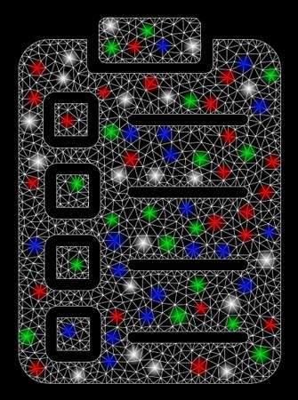 Bright mesh test tasks with glare effect. White wire carcass polygonal mesh in vector format on a black background. Abstract 2d mesh created from triangular lines, spheric points, colored glare spots. Çizim