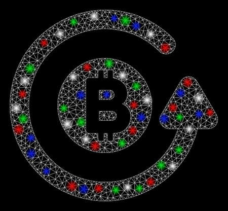 Bright mesh Bitcoin chargeback with glare effect. White wire frame triangular mesh in vector format on a black background. Abstract 2d mesh built from triangles, round dots, colorful glare spots.
