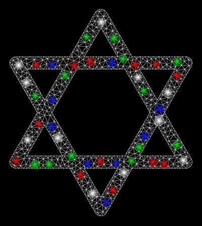 Bright mesh star of David with glare effect. White wire frame triangular mesh in vector format on a black background. Abstract 2d mesh designed with triangles, points, colored glare spots. Imagens - 131244611