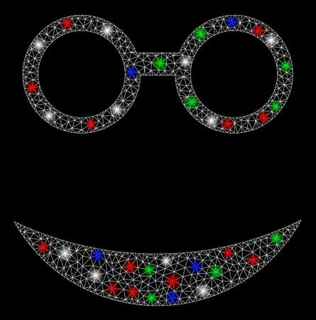 Bright mesh professor smiley with glare effect. White wire frame triangular mesh in vector format on a black background. Abstract 2d mesh built from triangular lines, round dots, colored flare spots.