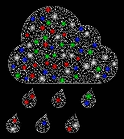 Bright mesh rain cloud with lightspot effect. White wire frame polygonal network in vector format on a black background. Abstract 2d mesh designed with polygonal grid, small circle, Illustration