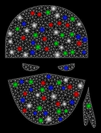 Bright mesh ninja head with glare effect. White wire carcass triangular mesh in vector format on a black background. Abstract 2d mesh created from triangular lines, round dots, colorful glare spots.