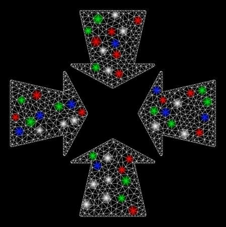 Bright mesh shrink arrows with glare effect. White wire carcass triangular network in vector format on a black background. Abstract 2d mesh designed with triangular lines, points, colored glare spots.