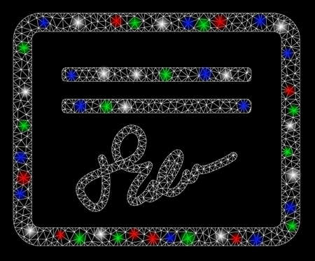 Bright mesh signed cheque with glare effect. White wire frame triangular mesh in vector format on a black background. Abstract 2d mesh built from triangular lines, round dots, colorful flare spots.
