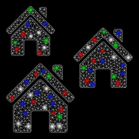 Bright mesh village buildings with glow effect. White wire frame polygonal network in vector format on a black background. Abstract 2d mesh designed with polygonal grid, small circle,