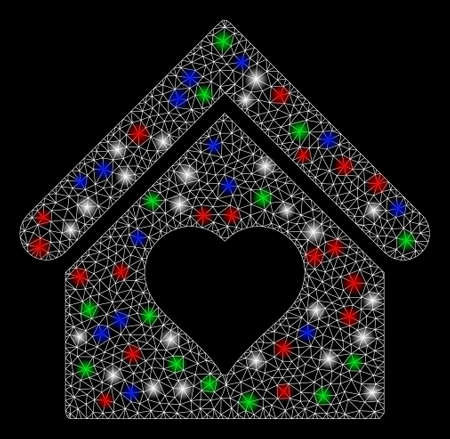 Bright mesh love house with lightspot effect. White wire frame polygonal mesh in vector format on a black background. Abstract 2d mesh created from polygonal grid, dots, colored flash spots.