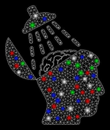 Bright mesh brain washing with lightspot effect. White wire frame polygonal mesh in vector format on a black background. Abstract 2d mesh created from polygonal grid, dots, colorful flare spots.