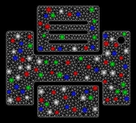 Bright mesh printer with glare effect. White wire frame polygonal mesh in vector format on a black background. Abstract 2d mesh designed with polygonal grid, dots, colorful light spots.