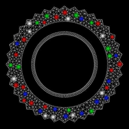 Bright mesh rosette seal frame with glow effect. White wire frame polygonal mesh in vector format on a black background. Abstract 2d mesh created from polygonal grid, spheric points,