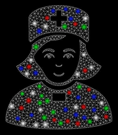 Bright mesh church female doctor with glow effect. White wire carcass polygonal mesh in vector format on a black background. Abstract 2d mesh built from polygonal grid, small circle,