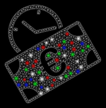 Bright mesh Euro recurring payment with glare effect. White wire carcass polygonal mesh in vector format on a black background. Abstract 2d mesh designed with triangular lines, round dots,