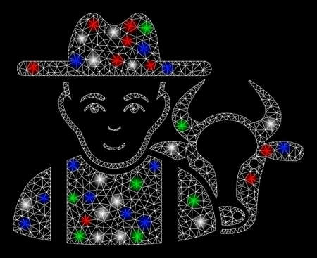 Bright mesh cattle farmer with glare effect. White wire carcass polygonal network in vector format on a black background. Abstract 2d mesh designed with polygonal grid, dots, colorful glare spots.