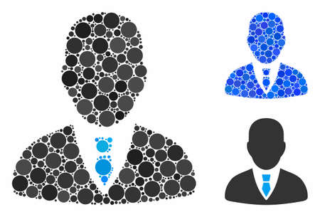 Manager composition of small circles in various sizes and shades, based on manager icon. Vector random circles are organized into blue composition. Dotted manager icon in usual and blue versions. Иллюстрация