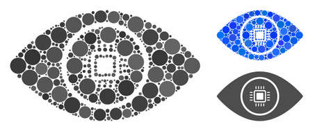 Electronic vision composition of filled circles in different sizes and color tints, based on electronic vision icon. Vector filled circles are combined into blue illustration. Иллюстрация