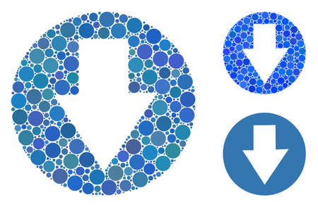 Down composition of circle elements in various sizes and color tones, based on down icon. Vector round elements are combined into blue composition. Dotted down icon in usual and blue versions.