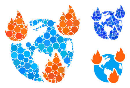 Earth disasters mosaic of filled circles in different sizes and color tones, based on Earth disasters icon. Vector small circles are organized into blue mosaic. Ilustração